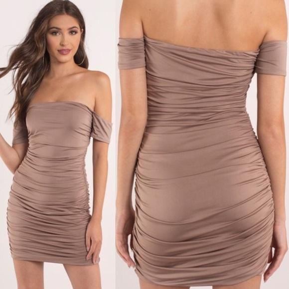 61a3d318084f4 Blair House Boutique Dresses   Off Shoulder Ruched Jersey Mini Dress ...